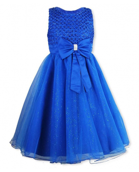 Girls New Diamante Big Bow Beaded Dress in Royal Blue