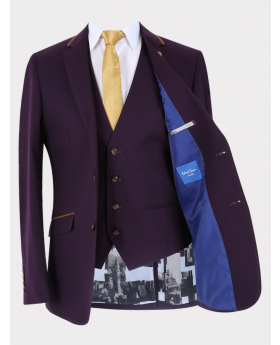 Men's Classic Slim Fit Business Suit Jacket and waistcoat with accessories in Plum front open picture