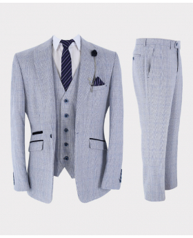 Mens & Boys Suit 3-Piece Retro Slim Fit Blue Tweed Houndstooth Check Set with accessories front picture