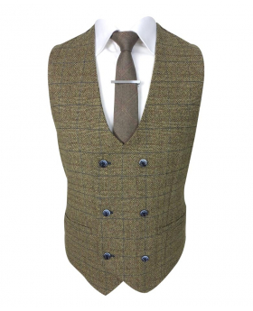 Men's Ascari Brown Retro Tweed Check Double Breasted Waistcoat