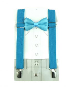 Children's Adjustable Elastic Y-Back Plain Brace with Bow Tie Set in Turquoise