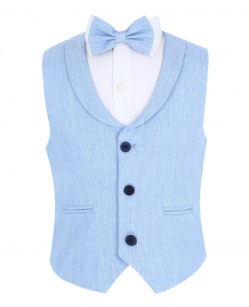 Baby Boy's Formal Single-breasted Waistcoat with collar and accessories in Sky Blue front picture
