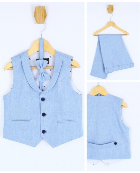 Baby Boy's Formal 3 Piece Waistcoat Suit Set in Sky Blue front picture