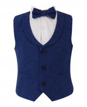 Baby Boy's Single-Breasted Self-Patterned 2 Piece Waistcoat Set with collar in Navy Blue front picture