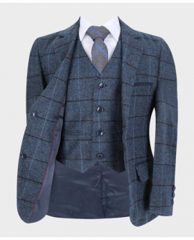 Baby Boys Blue Tailored Fit Tweed Check Formal  Suit Open picture