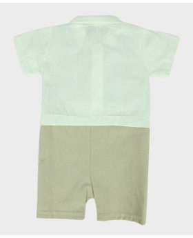 Baby Boys Casual Dungaree 3 Piece Set in Blue and Beige