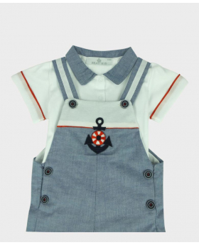 Baby Boys Casual Summer  2 Piece Dungaree Set in Light Blue