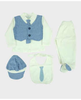 Baby Boys Casual Summer 4 Piece Dungaree Set in Sky Blue