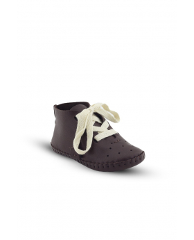 Baby Boys Genuine Leather Casual Newborn Crib Shoes in Brown side picture with front details