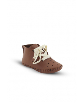 Baby Boys Genuine Leather Casual Newborn Crib Shoes in Tan Brown side picture