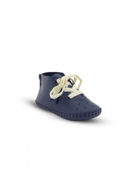 Baby Boys Genuine Leather Soft Sole First Walker Crib Shoes in Navy Blue side picture