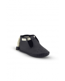 Baby Boys Genuine Leather Soft Sole Prewalker Open Side Crib Shoes in Black side picture