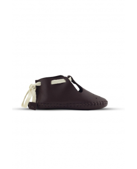 Baby Boys Genuine Leather Soft Sole Prewalker Open Side Crib Shoes in Brown side detail picture
