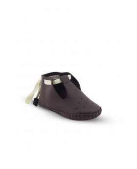 Baby Boys Genuine Leather Soft Sole Prewalker Open Side Crib Shoes in Brown side picture
