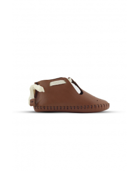 Baby Boys Genuine Leather Soft Sole Prewalker Open Side Crib Shoes in Tan Brown side details picture