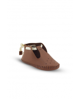 Baby Boys Genuine Leather Soft Sole Prewalker Open Side Crib Shoes in Tan Brown side picture