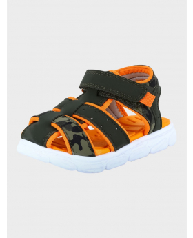 Baby Boys Trekking Summer Sandals in Green front and side details picture