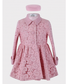 Baby Girl Coat 2 Piece Lace Embroidered Floral Set in Pink  Front Picture