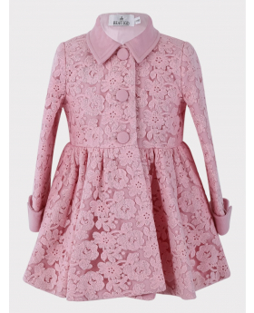 Baby Girl Coat Lace Embroidered Floral in Pink  Front Picture