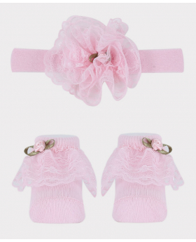 Baby Girl Headband and Sock Wedding Accessories Set in Pink