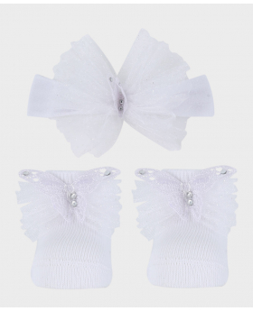 Baby Girl Headband and Sock Wedding Communion Accessories Set in White