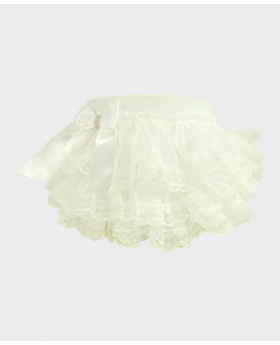 Baby Girl Lace Knickers in White Side picture