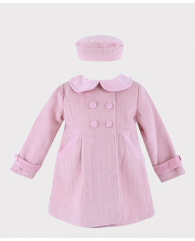 Baby Girls Herringbone Coat and Hat 2 PC Set in Pink