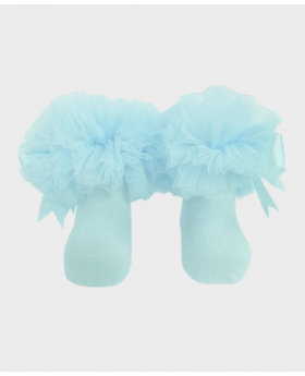 Baby Girls Ruffle Bow Blue Frilly Ankle Socks Pair
