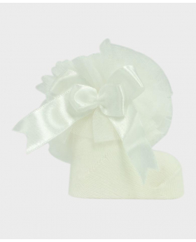 Baby Girls Ruffle Bow Ivory Frilly Ankle Socks Details