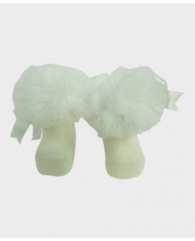Baby Girls Ruffle Bow Ivory Frilly Ankle Socks Pair