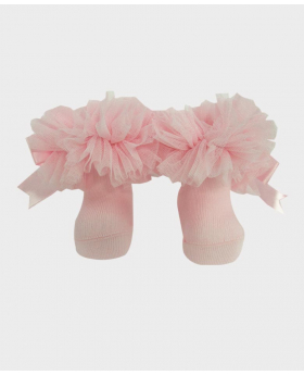 Baby Girls Ruffle Bow Pink Frilly Ankle Socks Pair