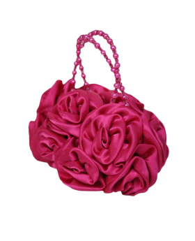 Fuchsia Satin Ruffle Rose Flower Girls Handbag, side view of the handbag.
