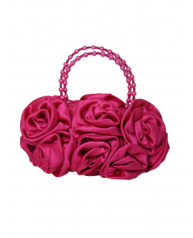 Fuchsia Satin Ruffle Rose Flower Girls Handbag, front view of the handbag.