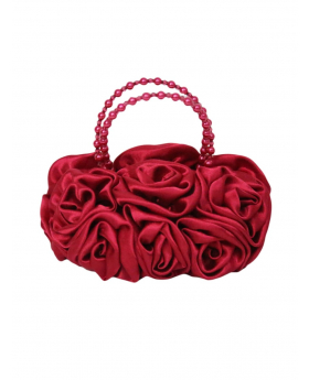 Red Satin Ruffle Rose Flower Girls Handbag. Front view of the handbag.