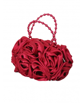 Red Satin Ruffle Rose Flower Girls Handbag. Side view of the handbag.