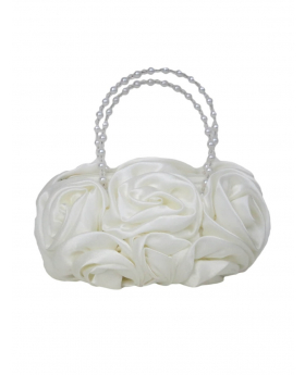 ivory Satin Ruffle Rose Flower Girls Handbag vie of the handbag