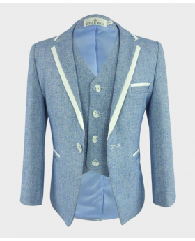Boys Textured Piping Slim Fit blazer and single-breasted waistcoat front picture