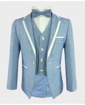 Boys Textured Piping Slim Fit blazer and single-breasted waistcoat with navy blue check bowtie front picture