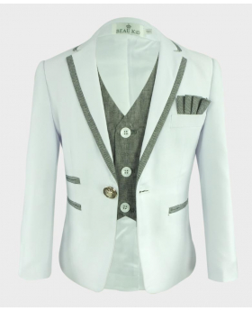 Boys Communion Piping Suit Slim Fit blazer Jacket and waistcoat open front picture