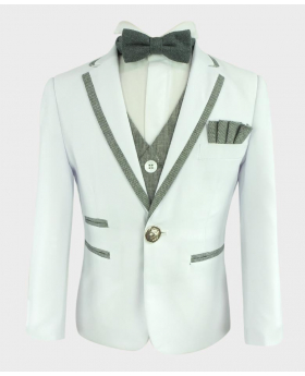 Boys Communion Piping Suit Slim Fit blazer Jacket and waistcoat with grey bow tie close front picture
