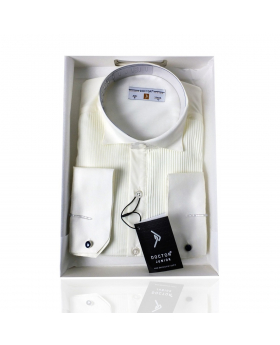 Boys Wing Collar Pleated Cufflink Formal Shirt in Beige front picture