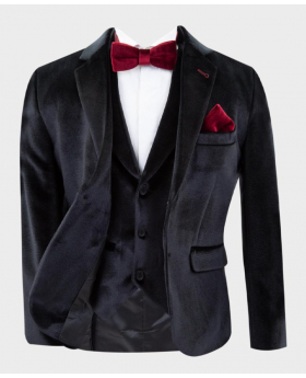 Black velvet blazer Jacket  with burgundy bow tie and hankie Open Picture