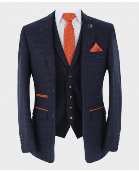 Blazer Jacket Tweed Check Navy Blue with matching waistcoat and accessories