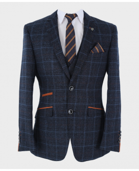 Blazer Jacket with blue checks and accessories  Front Close  picture