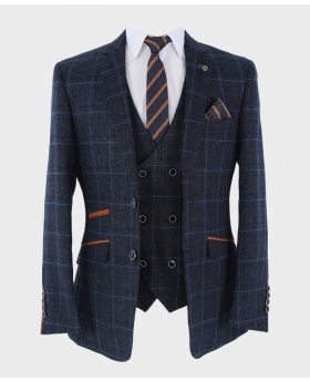 Blazer Jacket with blue checks and accessories  Front open pictures