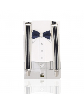 Young Children's adjustable elastic Y-Back Striped Brace with Bow Tie Set in Navy and Cream