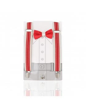 Young Children's adjustable elastic Y-Back Striped Brace with Bow Tie Set in Red and Cream