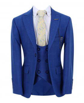 Boy's Check Slim Fit Suit Formal Jacket and double-breasted waistcoat  in Blue with accessories open front picture