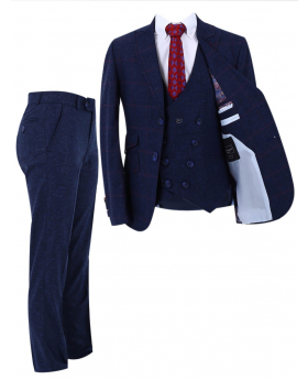 Boy's Check Slim Fit Suit Formal 3 Piece Set in Dark Blue front picture