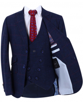 Boy's Check Slim Fit Suit Formal jacket in Dark Blue front open picture